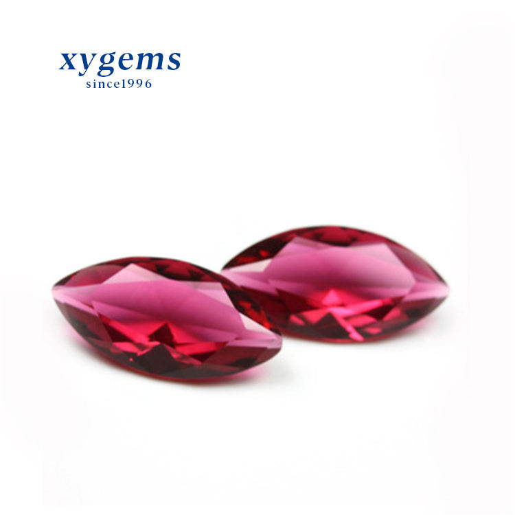 Low MOQ Big Size 7*14mm Rose Red Color Faceted Marquise Glass Gems