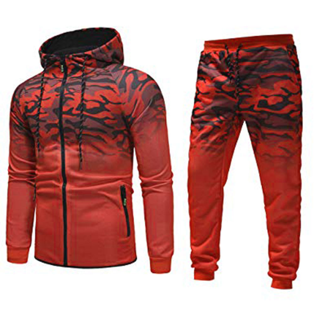 Newest Camouflage Style Training Suits Red Color Track Suits Sports Jogging/Running Wear Training Suits For Men's