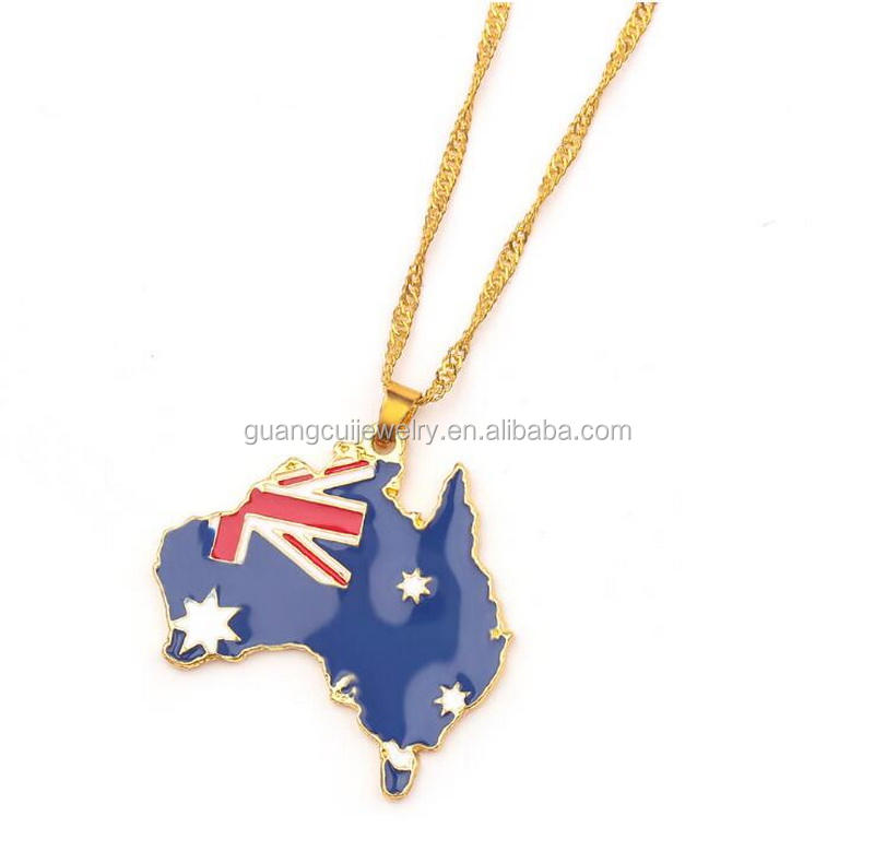 2021 New arrivals Wholesale enamel alloy Sudan Vietnam Australia Custom map flag necklace with country