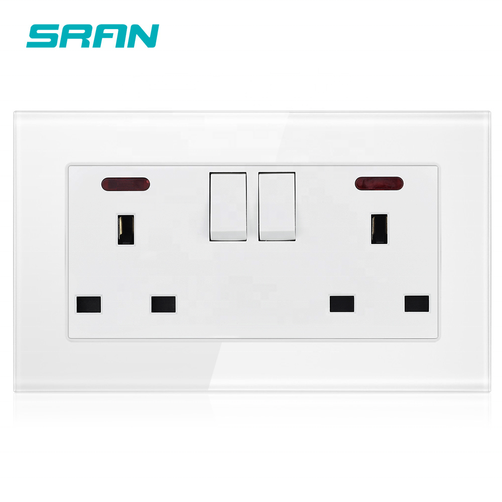 SRAN manufacturer UK usb wall socket,2 gang 13A dual usb with switch LED White crystal tempered glass panel 146*86 UK
