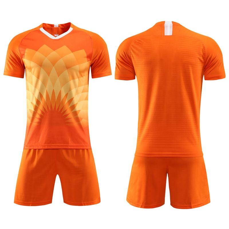 Sublimation Orange Blank Soccer Shirts with Shorts to Customize