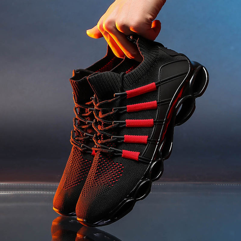 New Design Breathable Blade Men'S Knitting Sports Running Shoes Sneakers Walking Jogging Casual Trainers Shoes
