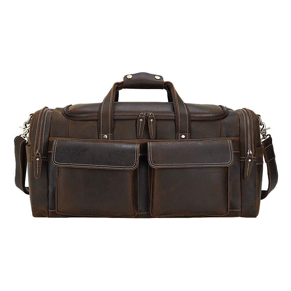Tiding Vintage Brown Buffalo Real Leather Men Overnight Weekend Travel Bags Garment Duffel Bag Genuine Leather