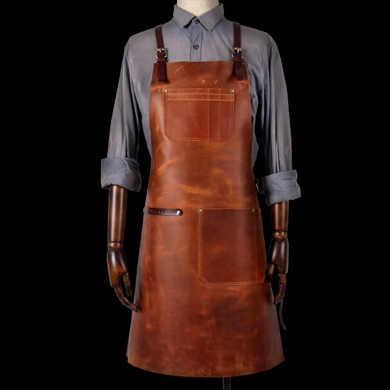 Custom High End vintage brown leather apron with leather belt