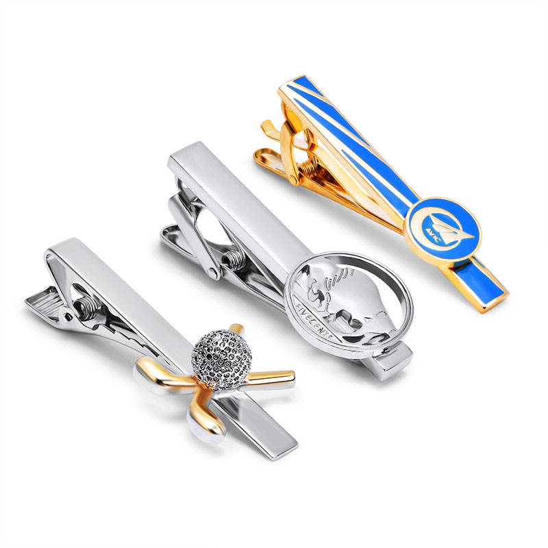 Wholesale Men Shirt Ties Golden Plating Cufflinks Tie Clip Set Custom Tie Bar Clips for Necktie