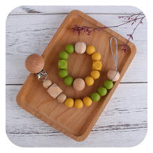 High Quality Silicone Octagonal  Round Beads Wooden Pacifier Clip Silicone Teething Bracelet