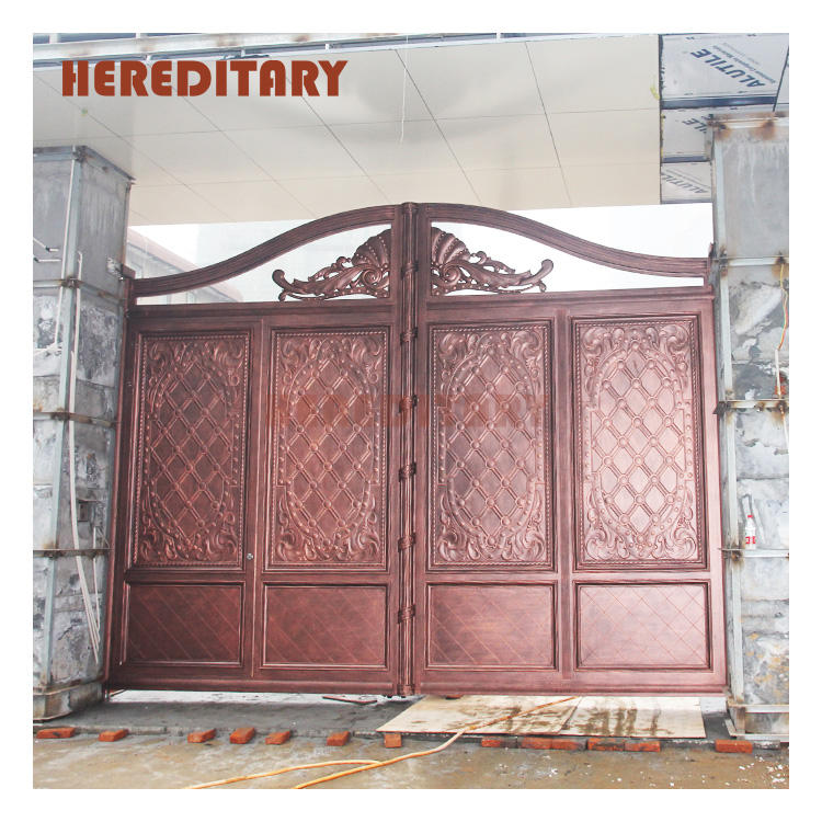 Aluminum villa gate red bronze european privacy decoration entrance modern gate