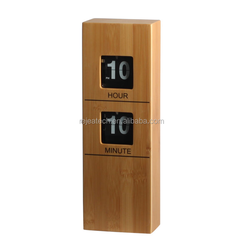 Bamboo Environmental Flip Clock for Wall Mounted Tabletop Desk Mechanical Quartz Battery Powered AM / PM
