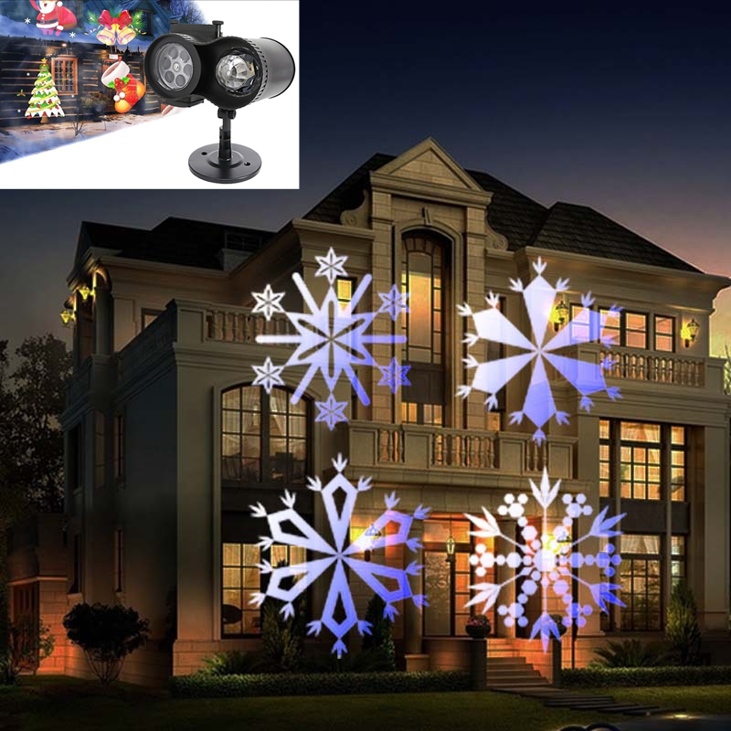 2 in 1 Holiday Light Christmas Laser Projector Lamp Compound Xmas Lawn Garden Star Sky Laser Shower 12 pattern film projection