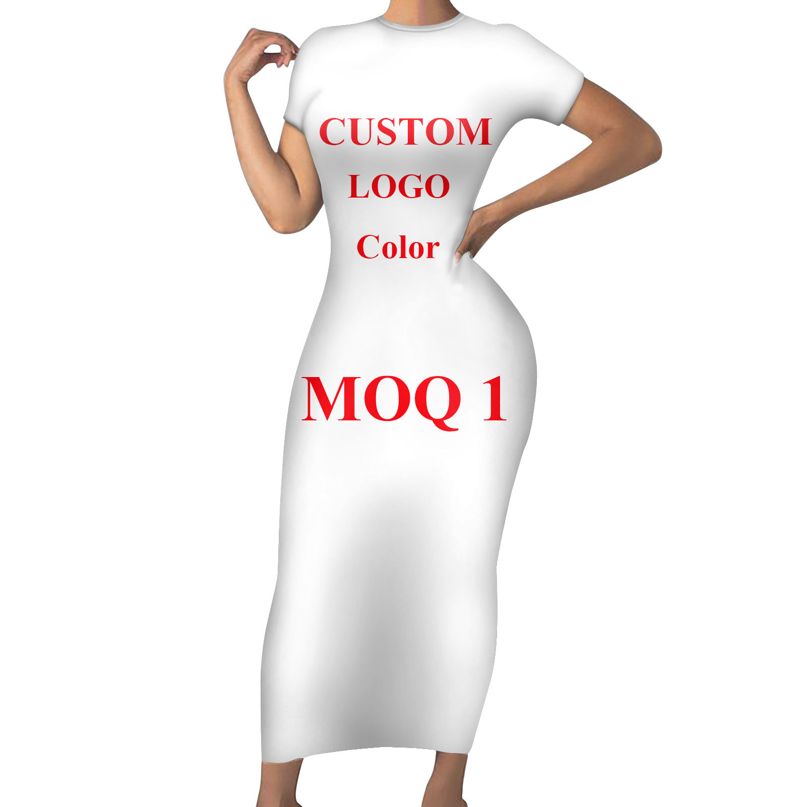 Sexy Women Dress Tight Mid-Length Short Sleeve Women Skirts Plus Dresses Custom Print/Logo/Image/Picture Wholesale Lady Clothing