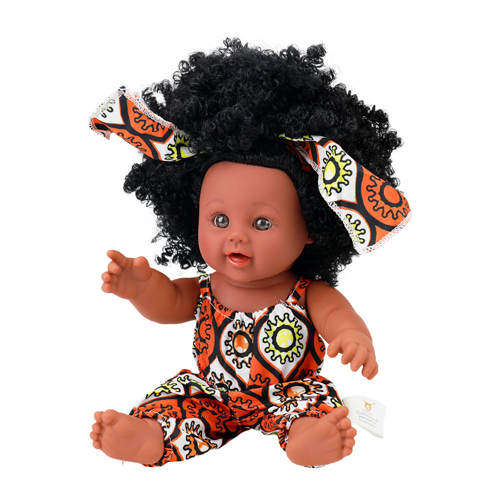 2020 hot sale popular 12 inch vinyl african american girls black dolls afro hair for kids