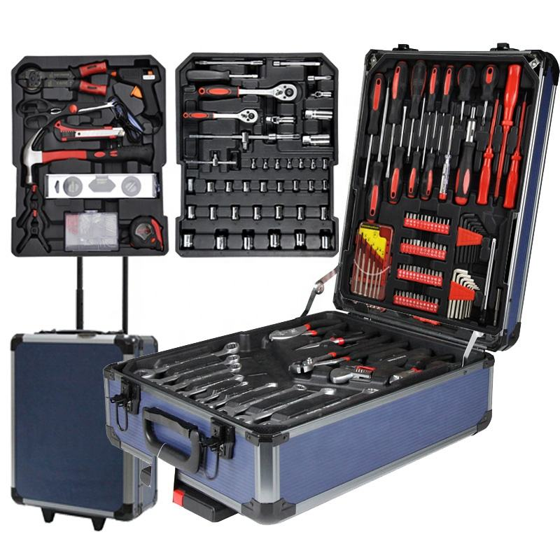 "Cheap Price Promotional 1/4"" 3/8"" socket 186PCS Swiss Kraft Trolley Hand Tool Sets"