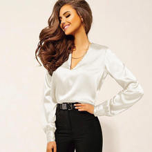 Women Sexy Office Style V Neck Solid Color Long Sleeve Shirt