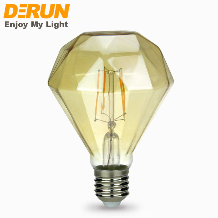Decorative G95 8W special shape GOLDEN GREY glass led filament bulb with CE ROHS , FMT-DIAMOND