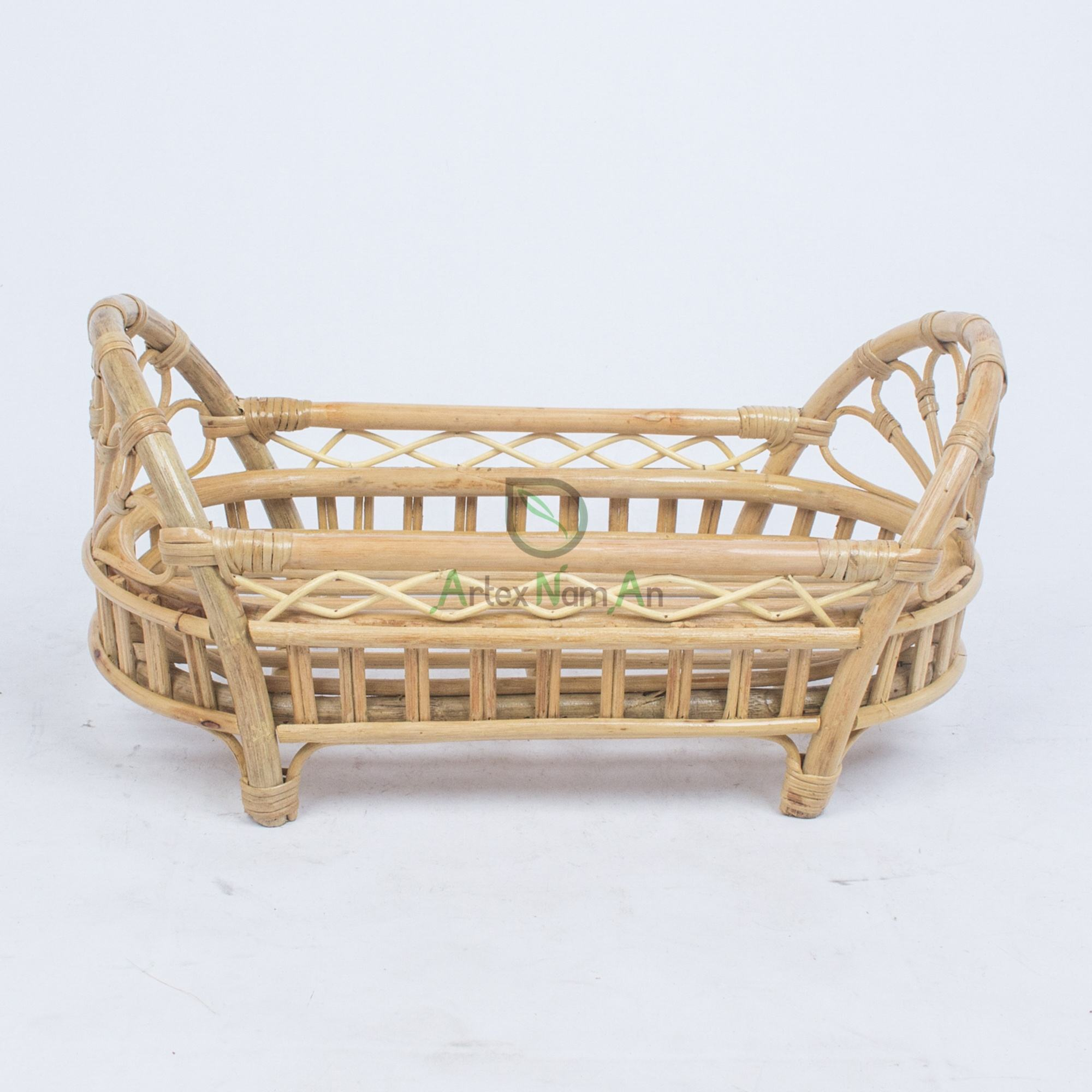 Newest design small rattan baby doll crib bed for doll houses furniture from Vietnam