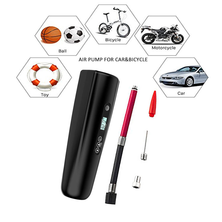 Tire repair tools digital LCD display USB rechargeable portable mini electric air pump for car and bike ball toy