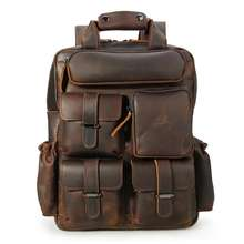 Tiding  Men Retro Genuine Leather Custom Backpack Real Leather 14 inch Laptop Backpack