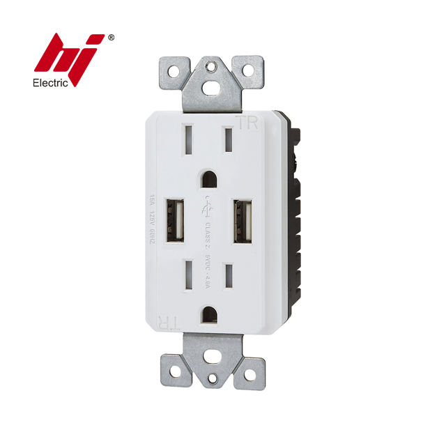 CUL UL 120V กำแพง USB Power Outlet กับ 15A 20A US SOCKET