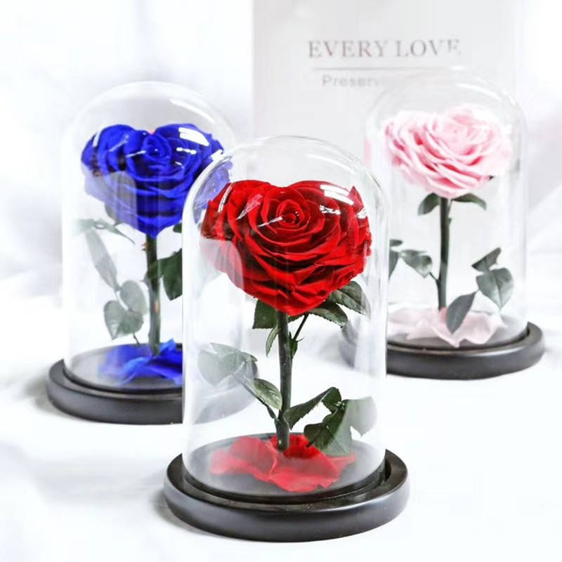 New Arrival Eternal Preserved Rose with Glass Dome Heart Rose Forever Love Wedding Favor Party Gifts for Valentine's Day