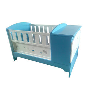 Various Cartoon Printing Baby Furniture Cot Bed 2 In 1 Adjustable Foldable Solid Wooden Baby Cot With Cabinet