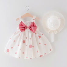 Summer cute dot big bow sleeveless A-Line cotton infant toddlers clothing girls dresses with hat