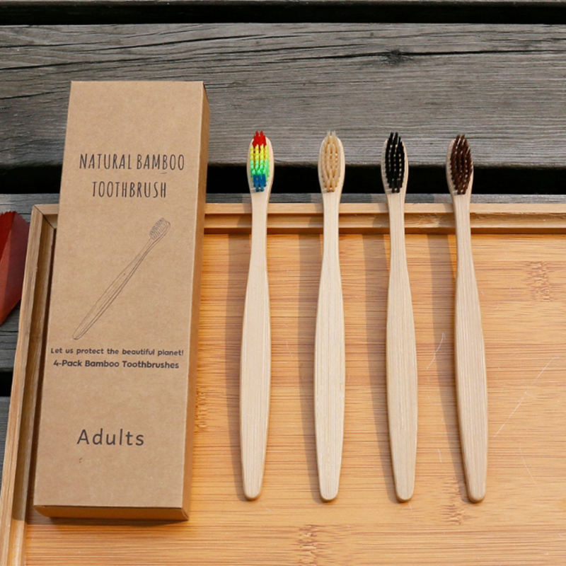 100% organic high quality bamboo toothbrush pack of 4
