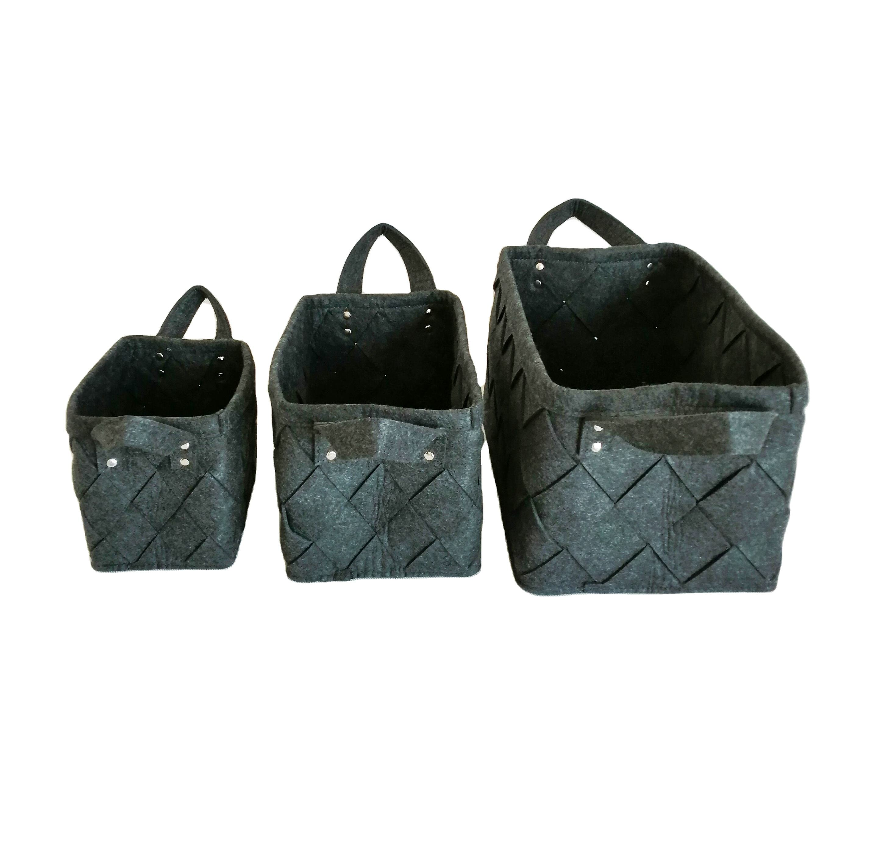 Handmade woven dark gray felt basket storage box felt laundry storage basket