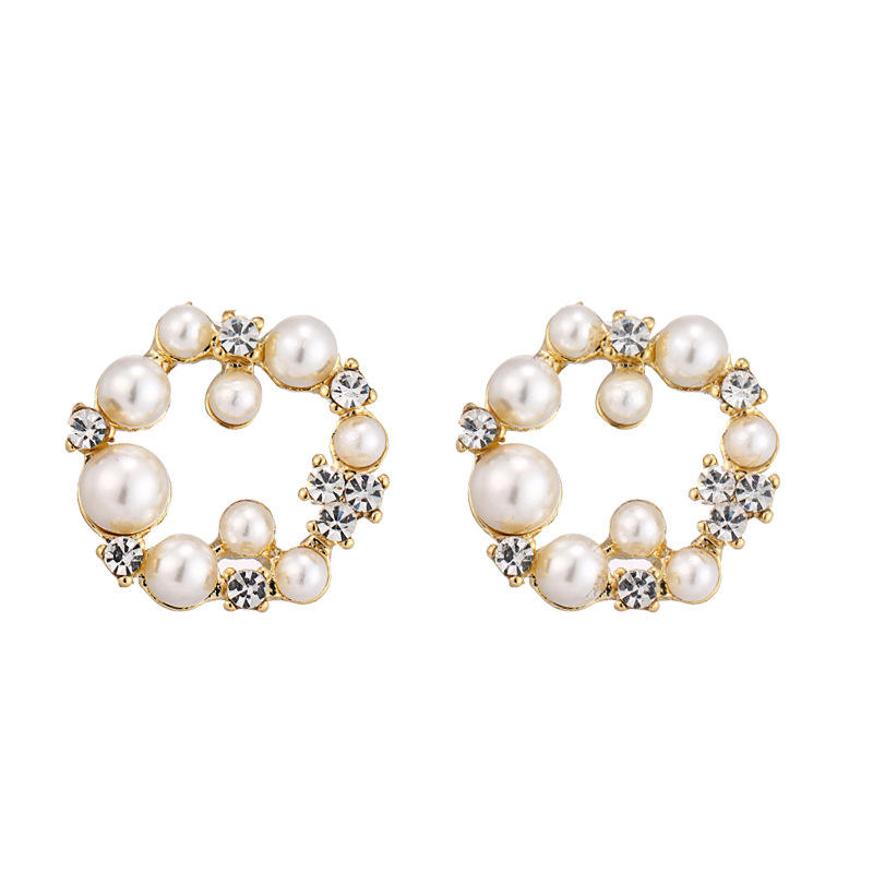 High Grade New Fashion Hoop Earring Style Ladies 18 K Gold Pearl Earring