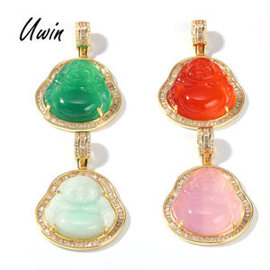 Hip Hop Iced Out Pink Green Red Agate Jade Buddha Pendant Necklace Baguette CZ Rapper Jewelry for Women Men