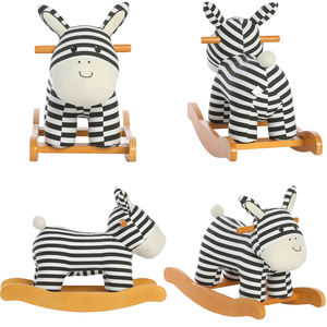 Baby ride rocking solid wood canvas plywood chair striped zebra donkey animal plush toy wooden lovely rocking horse