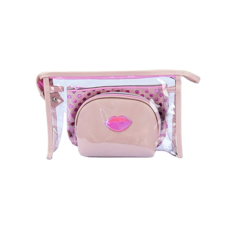 Factory direct sales high quality dot prints 3 in 1 transparent pvc cosmetic bag leather makeup bag clear makeup bag