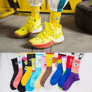 Wholesale Hot Selling Couples Sock Fashion Funny Cartoon Characters Soft Breathable Cotton Crew Men Socks