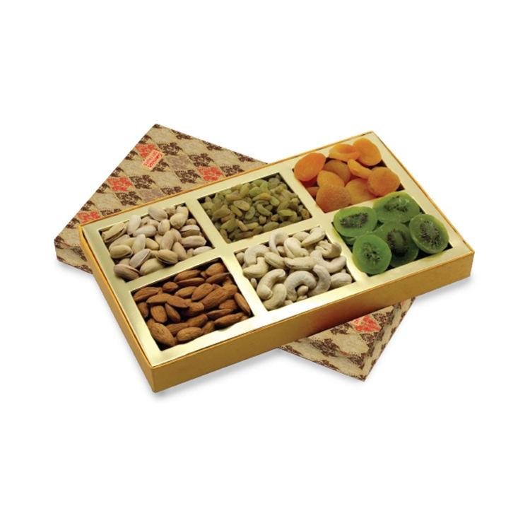 Custom logo printed decorative wedding packaging diwali dried fruit empty packing for dry fruit gift paper box