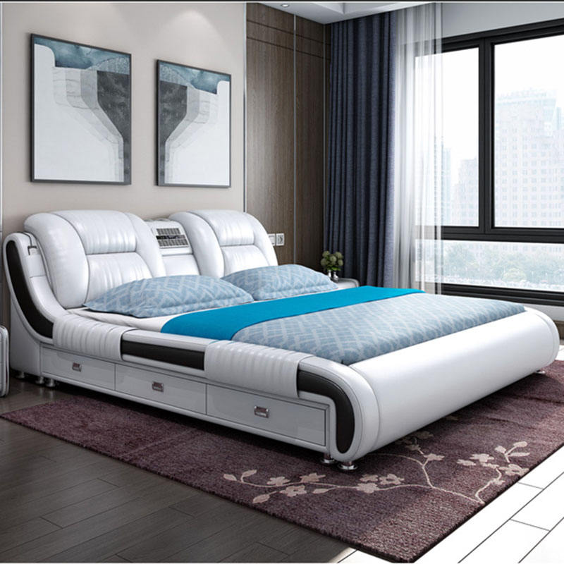 Practical multifunction save space leather bed hot selling tatami storage bed multifunction bed with music box