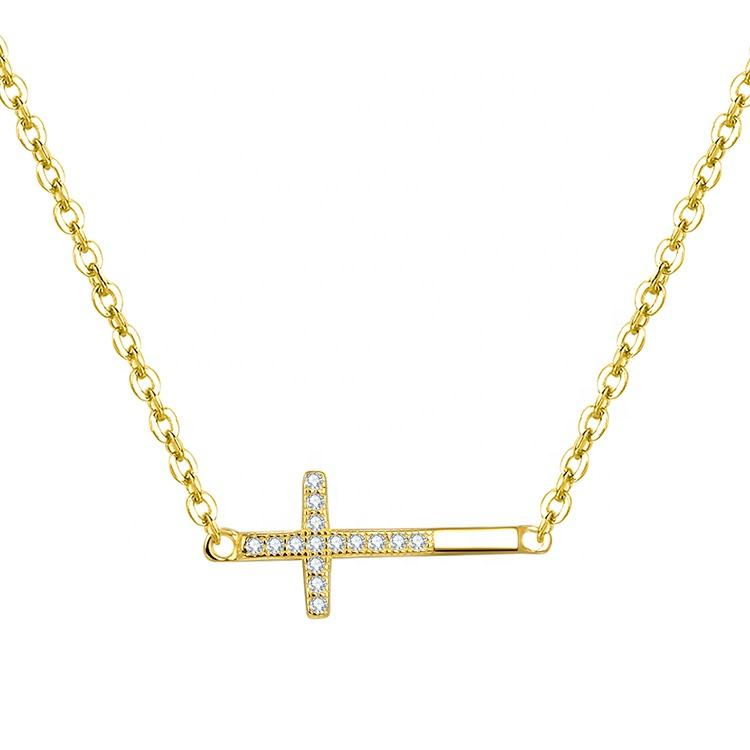 Custom Adjustable Gold Plated Cz Cross Pendant Necklace 925 Sterling Silver Gold Necklace For Women