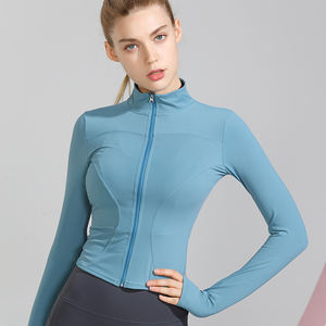 Autumn Stylish Crop Top Training Fitness Tight Long Sleeve Yoga Jacket With Zip Workout Wear