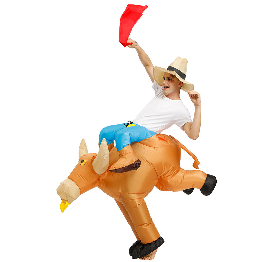 Crazy jurassic adult cow costume inflatable bull suit inflatable ride on animal costume for party