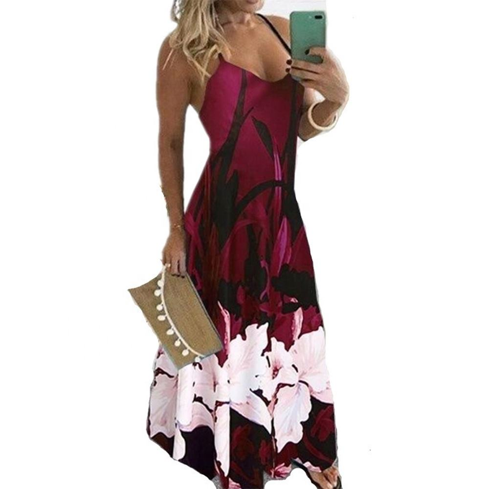 Floral Maxi Dress Long Spaghetti Strap Sexy Summer Dresses Elegant Beach Party Casual Sundress Plus Size Women Clothes Vestidos