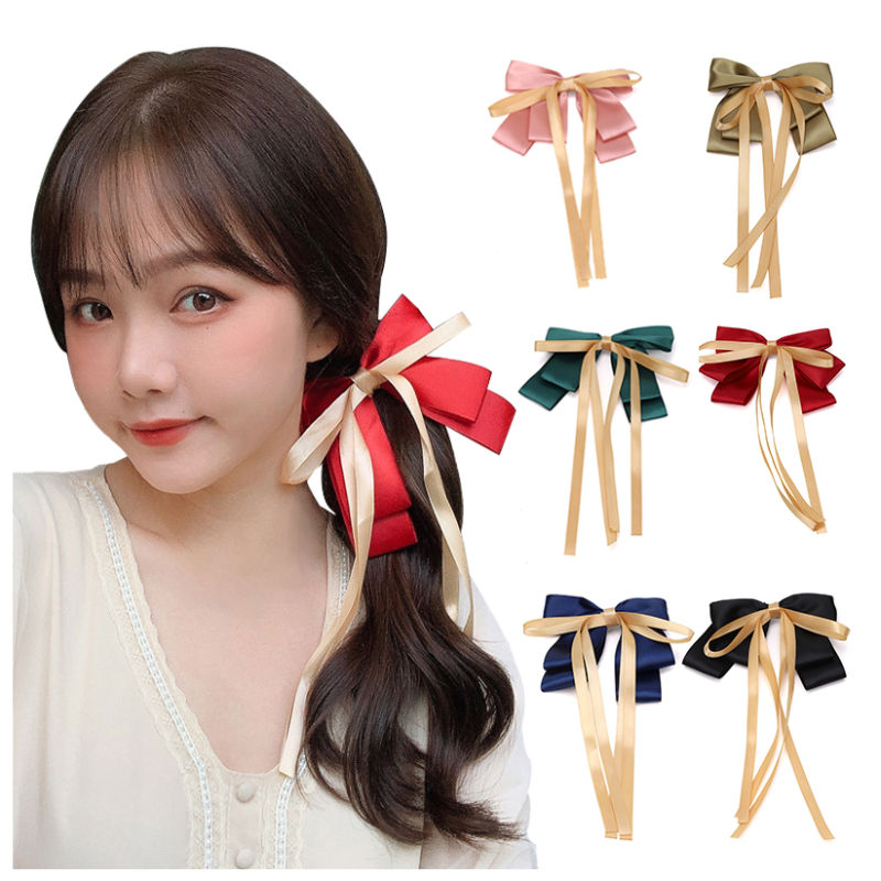 Fashion Butterfly Big Bow Hairpins Satin Ribbon Tail Designers Hair Clips
