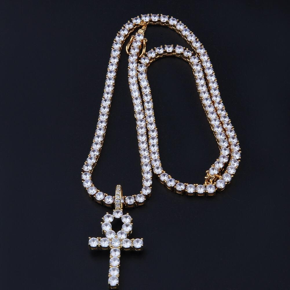 Gold cz diamond ankh pendant necklace set jewelry with 4mm tennis chain