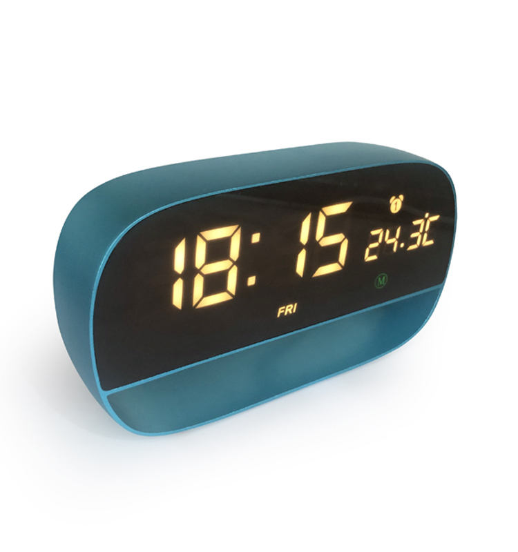 Wholesale Metal Material Smart Touch Sensor Temperature Display Digital LED Mirror 3 Alarm Clock With Dual Power Supply
