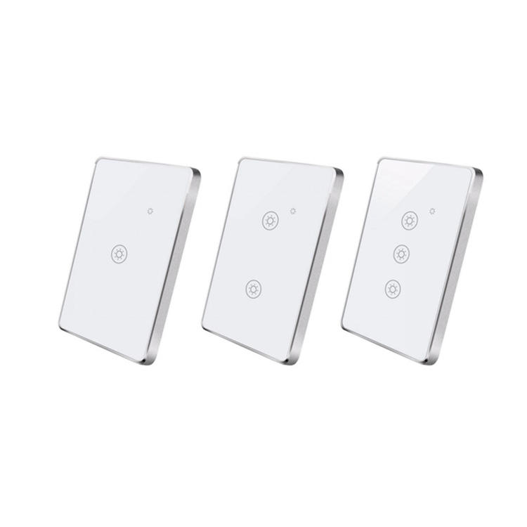 Zigbee Remote Wall Touch Switch without N line 1/2/3 Gang Glass Panel light Switch with aluminum frame smart home Uemon