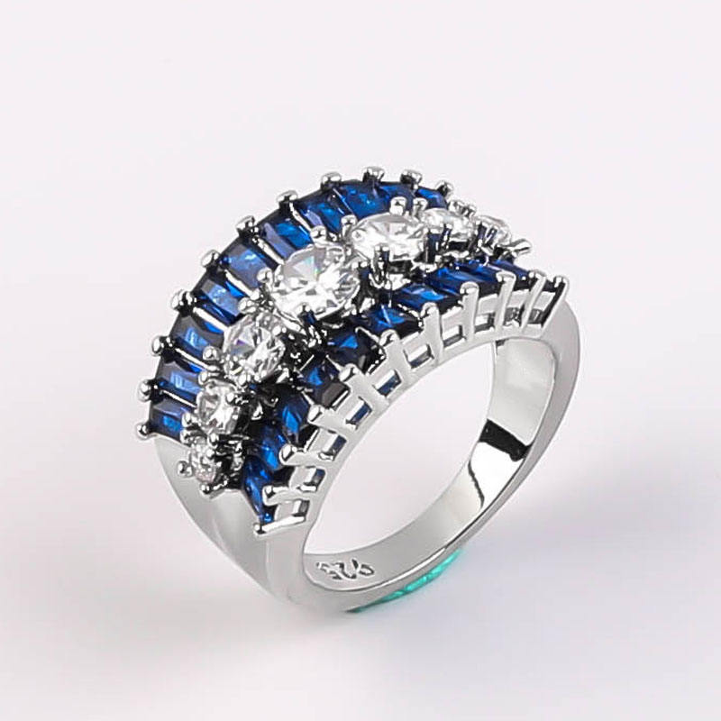 3 Row Exquisite Brilliant Cut Micro Inlaid Blue Cubic Zirconia Wedding Ring 7-Stones Sapphire Band Rings For Women