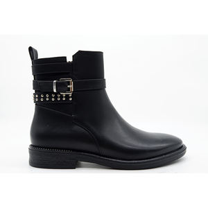stylish women female plus size black low heel shoes ankle boots