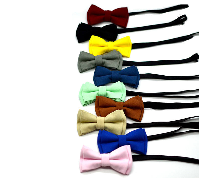 Hot selling fashion solid color children bowtie pin lace up patterns performance party baby bow tie kids boy handsome bow ties