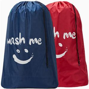 Wash Me Travel Laundry Bag,Rip-Stop Nylon Heavy Duty Dirty Clothes Bag with Drawstring, Machine Washable, Anti-Odor