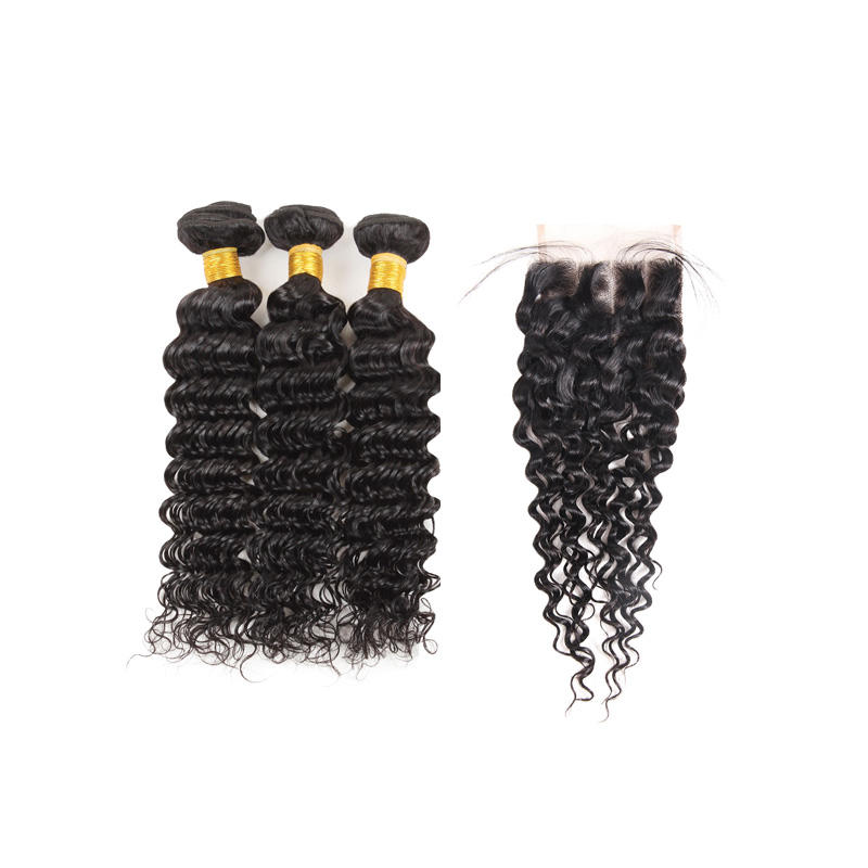 Brazilian hair weft extension weaving hd lace deep wave 3 bundles with closure