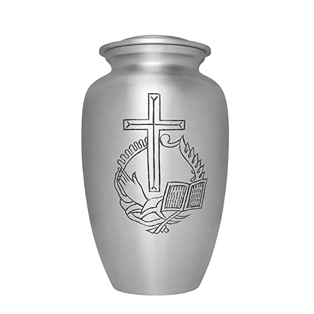 Aluminium Religious Cross Design Adult Cremation Urns urns for cremation