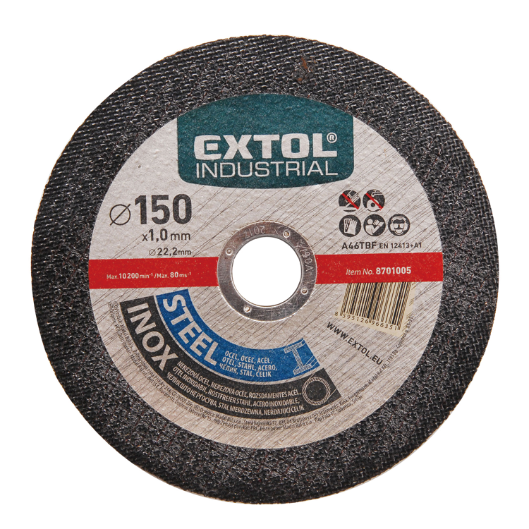 8701005 EXTOL industrial long lifetime professional quality abrasive cutting disc cutting wheel for steel