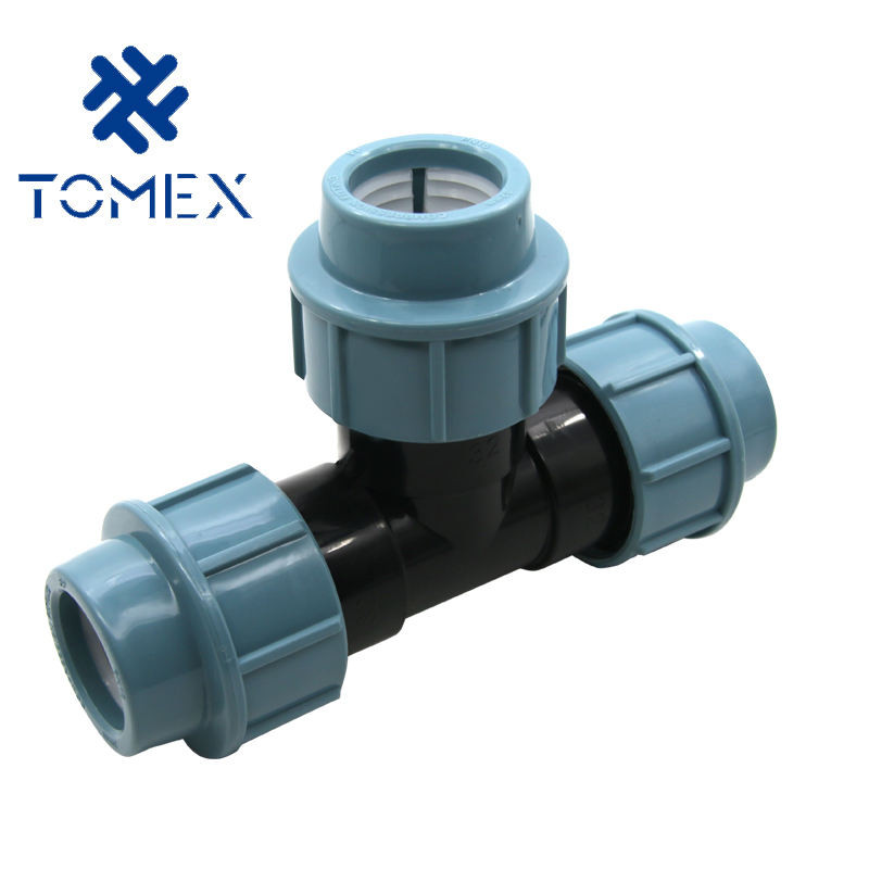 Injection Technics and Equal Shape HDPE Pipe PP Compression Fittings equal tee for water supply